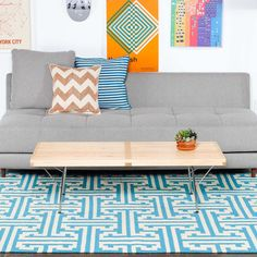 (99+) Fab.com | I-Beam 5x8 Blue    Adorable Rug! $275 great price.