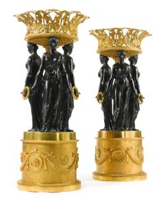 A LARGE PAIR OF EMPIRE STYLE GILT AND PATINATED BRONZE CENTERPIECES  CONTINENTAL, SECOND HALF 20TH CENTURY