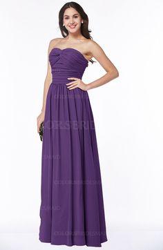 53195248fd1 Dark Purple Plain A-line Strapless Chiffon Ruching Plus Size Bridesmaid  Dresses (Style D51214