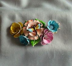 Vintage 1950s Multicolor Enamel Paint Rhinestone Dragonfly Flower Pin | eBay