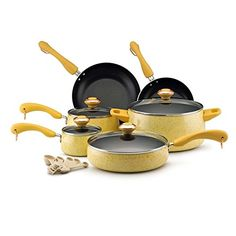 Paula Deen Signature Collection Porcelain Nonstick 15-piece Butter Speckle Cookware Set, Dishwasher Safe, Oven-safe to: 350-degrees F -- See this great product.