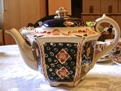 Antique Sadler Teapot Victorian Era, Blue And Gold