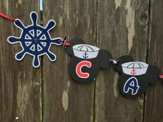 Sailor Mickey Mouse Birthday Banner with Anchors by LeslisDesigns