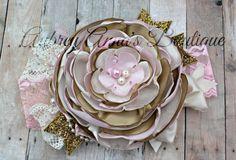 Pink and Gold, Flower Girl, Wedding, Girls Headband, OTT, Couture, Singed Satin Flower, Satin Flower Headband, Photo Prop, Photography