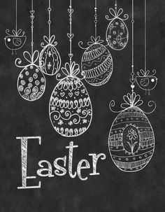 Chalkboard Wall Print Chalkboard Easter by TimelessMemoryPrints