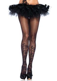 Sheer black polka dot print pantyhose with floral print knee high detail. Sheer Dot and Floral Print Pantyhose, Polka Dot and Flower Print Pantyhose Women Lingerie, Sexy Lingerie, Polka Dot Tights, Bas Sexy, Design Floral, Sheer Tights, Fashion Tights, Glamour, Cute Socks