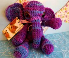 Crochet Elephant Amigurumi Purple Elephant Stuffed by RumpledFoxes