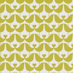lovebirds wallpaper mustard or stone grey by caroline mcgrath | notonthehighstreet.com