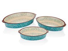 Set 3 Vase Oval pentru Copt Turcoaz 17x24x29 cm Serving Bowls, Decorative Bowls, Tableware, Home Decor, Green, Dinnerware, Decoration Home, Room Decor, Tablewares