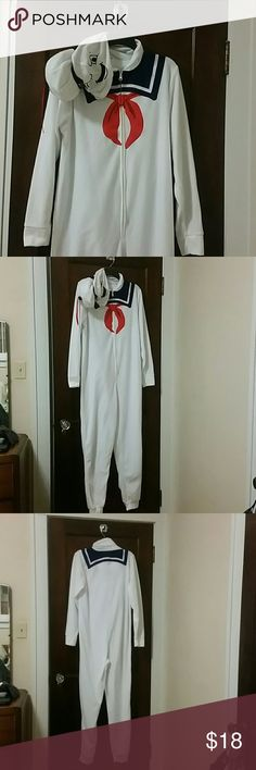 Stay Puft Marshmallow pajamas Like new, zip up, fleece, hooded, one piece pajamas. Worn once over clothing as a Halloween costume and washed. No tears or stains. M J International Group Intimates & Sleepwear Pajamas