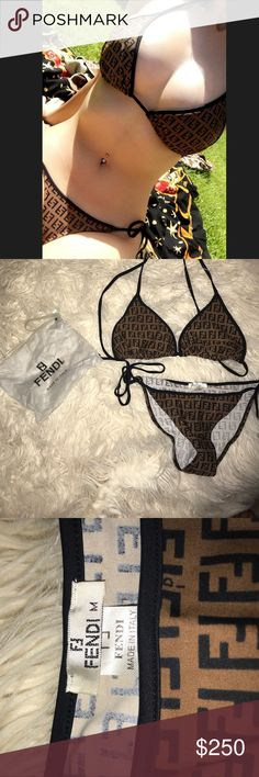 Fendi bikini 100% authentic Fendi bikini. Only worn once for about two hours to tan, did not go in water with it. Includes Fendi bikini and bikini bag pictured. Marked a size medium but fits more like a small. Top can fit a wide range of sizes since it's a string bikini, pictured on a 34DD. Please contact me with any questions!💗 Fendi Swim Bikinis