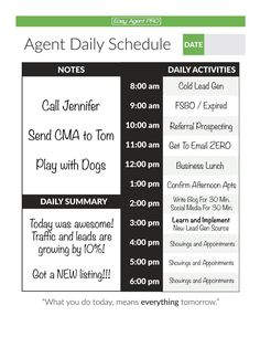 The Real Estate Daily Planner We Like To Use Here At Easy Agent Pro.