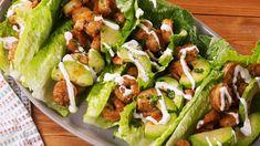 Cilantro-Lime Shrimp Wraps Are Low-Carb Gold - Delish Seafood Recipes, Mexican Food Recipes, Cooking Recipes, Healthy Recipes, Keto Recipes, Cabbage Recipes, Shrimp Lettuce Wraps, Lettuce Wrap Recipes, Lettuce Tacos