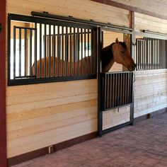 Drop-Down Steel Horse Stall Front & Door Package available online at Barn Pros More