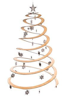 The Sprung Christmas Tree is an ultra-modern alternative to cut Pine trees, laser-cut ply wood/bamboo with sophisticated stainless steel decorations. Pop Up Xmas Tree, Spiral Christmas Tree, Spiral Tree, Christmas Tree Cutting, Wall Christmas Tree, Creative Christmas Trees, How To Make Christmas Tree, Alternative Christmas Tree, Christmas Ornament Crafts