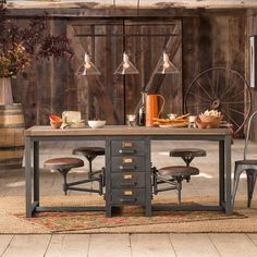 """Sundance's CAFETERIA TABLE would make a great work table - stools swing out of the way! Reclaimed pine wood, sturdy iron base, 36""""W x 71""""L x 30-1/2""""H, leather-covered stools 14"""" dia. x 17"""" to 21""""H."""