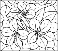 color by number coloring pages tropical flower printable color by number page hard - Hard Flower Coloring Pages