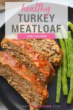 Healthy Turkey Meatloaf baked on a sheet pan. This easy low calorie dinner recipe is simple to make, egg free, hearty, gluten free and family approved! Low Carb Ground Turkey Recipe, Healthy Ground Turkey, Ground Meat Recipes, Easy Low Calorie Dinners, Healthy Low Calorie Meals, Healthy Eats, Healthy Snacks, Ground Turkey Meatloaf, Healthy Meatloaf