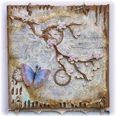 Mixed Media-Butterfly Wall Hanging, made by Gabrielle Pollacco using Maja Design papers, Dusty Attic chipboard and embellishments from Angelica's Little Scrap Shop