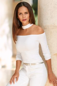 Trending Fashion | Women's White Off-The-Shoulder Collar Top by Boston Proper.