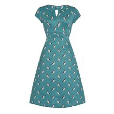Juliet Green Puffin Print Tea Dress | Vintage Style Fashion Lindy Bop