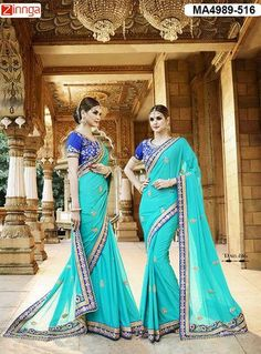 Women's Beautiful Turq Blue Color  Silk And Georgette Saree With Blouse  #Sarees #Fashion #Looking #Popular #Offers #Deals #Looking #fashionable #Zinnga #Zinngafashion #Trend  #Trending #Deal #Beautiful #Nice #Look