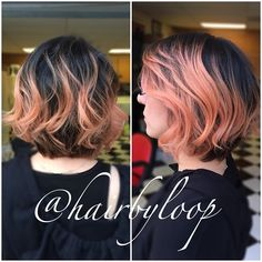 My lovely client is letting her natural hair color grow out so we thought we would add some coral to her lightened pieces! Might as well have fun while she waits  #hairbyloop #haircut #aline #alinehaircut #coralhair #pravana #pravanapastels #pravantoocutecoral #pinkhair #naturalombre  #nofilter #messycurls
