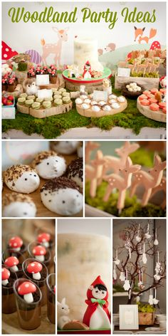 A Little Red Riding Hood Woodland party with a dessert table decorated with moss, mushrooms, bird nests, and tree stumps!