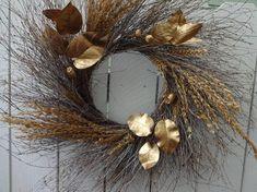 All That Glitters Autumn Wreath Holiday Wreath Twig Wreath Wall Decor Christmas Gift Fall Wreath Wheat Wreath Golden Wreath Gold Wreath, Twig Wreath, Boxwood Wreath, Green Wreath, Autumn Wreaths, Easter Wreaths, Holiday Wreaths, Holiday Decor, Christmas Decor