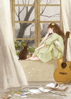 003 Need the interes of someone Art And Illustration, Illustration Mignonne, Illustrations, Art Anime Fille, Anime Art Girl, Bts Art, Art Mignon, Anime Scenery, Aesthetic Art