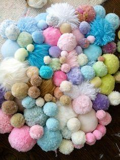 Jaz Harold Illustration: January 2012 My cats' favortie toys! Pom Pom Crafts, Yarn Crafts, Diy Crafts, Pink Quilts, Idee Diy, Fabric Manipulation, Pretty Pastel, Textile Art, Bunt