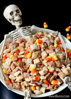 Halloween Puppy Chow Recipe: Give your go-to party mix recipe a Halloween makeover!