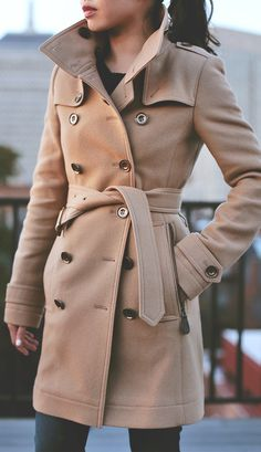 camel trench coat.