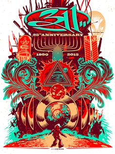 311 Munk One Anniversary Poster Artist Edition Release Rock Posters, Band Posters, Concert Posters, Music Posters, Vaporwave Wallpaper, Esoteric Art, We Will Rock You, Commercial Art, Photoshop