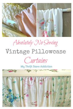 The 15 Minute Fix: No Sew Vintage Pillowcase Curtains 2019 No sew vintage pillowcase curtains a pretty solution for storage issues PIN: mythriftstoreaddi The post The 15 Minute Fix: No Sew Vintage Pillowcase Curtains 2019 appeared first on Curtains Diy. Camper Curtains, No Sew Curtains, How To Make Curtains, Rod Pocket Curtains, Small Window Curtains, Window Blinds, Bathroom Curtains, Easy Sewing Projects, Sewing Hacks
