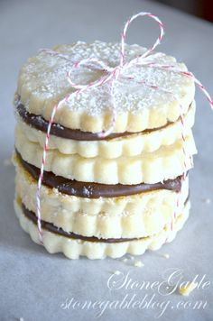 CHOCOLATE FILLED SHORTBREAD COOKIES-stack of shortbreads- stongableblog.com
