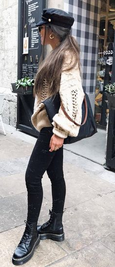 winter outfit inspiration / hat   nude sweater   bag   skinnies   boots