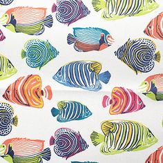 Fish Tale is a bright under-the-sea print from the Pool House Collection by P/Kaufmann Outdoor. This durable outdoor fabric features various tropical fish in a vibrant palette, printed on a 100% spun polyester base material with a soil and stain repellent finish.