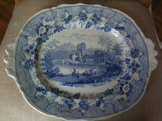 16.5in x 11.25in pre 1824 English Staffordshire serving platter.Bottom mark  'European Scenery'