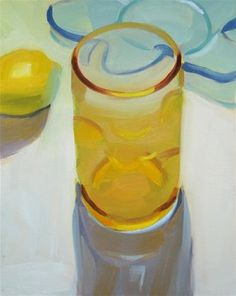 "Daily Paintworks - ""Amber Bubble Glass and Lemon"" - Original Fine Art for Sale - © Robin Rosenthal"