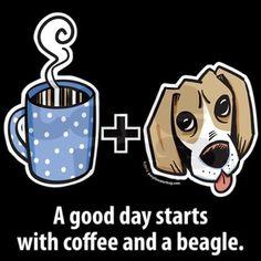 Coffee and a beagle T-Shirt on CafePress.com