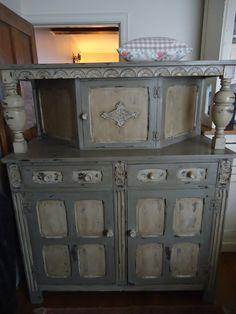 Chicinteriorsoflondon vintage distressed 16th century style cupboard, transformed. Originally dark wood.