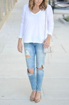 fall casual chic: good vibes distressed skinnies and white long sleeve tee