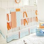 "Our Orange baby crib bedding is fun & modern%21  Bright orange & aqua make a statement, combined with whimsical chevron, polka dot & basket weave fabric patterns.  The crib bumper is made of White Pique with Tangerine Solid cording and grosgrain ties. Bumper is slip covered for easy cleaning.  The sheet is of Basket Weave in Tangerine fabric, and the 17"" tailored skirt is made with White Pique, Tangerine Dot pleats & Zig Zag in Aqua band.  The two piece set includes a crib s"