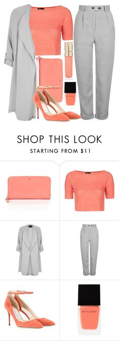 """""""Peach and gray"""" by mareehamasood246 ❤ liked on Polyvore featuring Kate Spade, Topshop, River Island, Jimmy Choo, Witchery, Smith & Cult, colorchallenge and grayandpeach"""