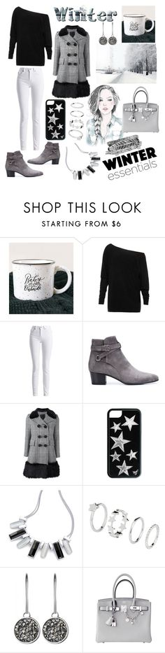 """Winter layers"" by jumainakmir ❤ liked on Polyvore featuring Barbour International, Yves Saint Laurent, Marc Jacobs, Dyrberg/Kern, GE, Hermès and Boohoo"