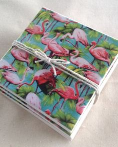 Ceramic Tile Coasters  Flamingoes Retro Style by RetroPickles