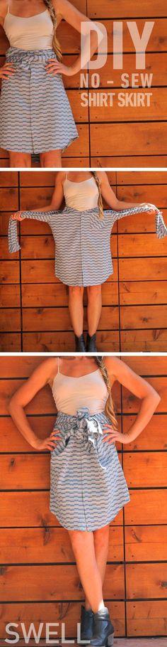 DIY No Sew Skirt from a Shirt
