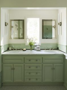 sage green kitchen cabinets with grey counter - Google Search