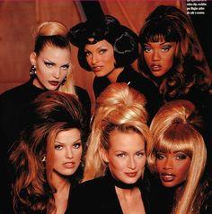 """Too Funky"" (Backstage) Nadja Auermann, Linda Evangelista, Tyra Banks, Shana Zadrick, Estelle Lefebure & Beverly Peele in THIERRY MULGER, 1992"